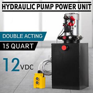 15-L-12V-DC-Double-Acting-Hydraulic-Pump-Dump-Trailer-Metal-Reservoir-15-Quart