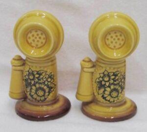 Details About Vintage 4 Harvest Gold Ceramic Novelty Telephone Salt Pepper Shaker Set