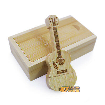 Wood Guitar USB Drive 2.0 + Wooden Gift Case Memory Flash Thumb Stick Pendrive