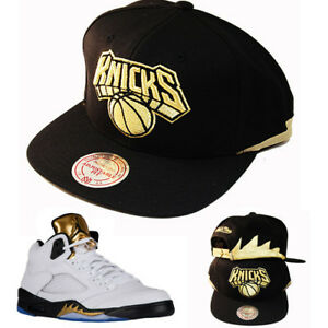 Details about Mitchell   Ness New York Knicks Snapback Hat Air Jordan 5  Olympic Gold Medal Cap 4cd8e3531