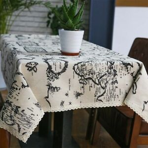 Image Is Loading Table Linen Country Style Map Printed Cloth Napkins