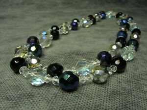 Vintage-Bohemian-Aurora-Borealis-Iridescent-amp-Clear-Faceted-Glass-Bead-Necklace