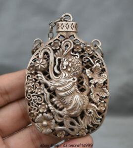 8-CM-Chinesische-Silber-Dynastie-edle-Lion-Beast-aushoehlen-Kette-Flaschenvase