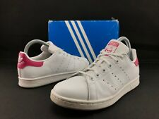 9b742cc8875 Adidas Stan Smith J Big Kids White Rose Orhtolite Lace Athletic Shoes US 6  C407