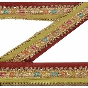Sanskriti Vintage Sari Border Indian Craft Orange Trim Hand Beaded Ribbon Lace Trim & Edging