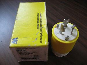 New-Woodhead-26T47YL-Yellow-Nema-L5-20-Twistlock-Plug-20-Amp-125-Volt