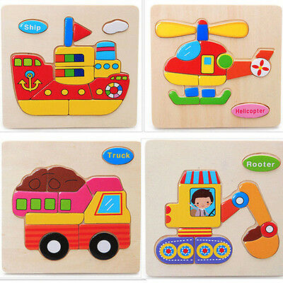 1pc Wooden Blocks Transport Children Educational Toy Puzzle Cartoon Baby Design