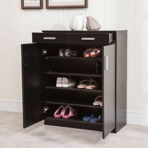 5 Shelf 20 Pair Shoe Rack Organizer Storage Cabinet 2 Drawers Entryway Stand