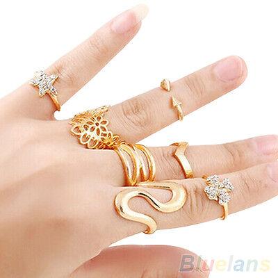 7X Women Rhinestone Hollow Flower Star S-Shape Knuckle Midi Finger Stacking Ring