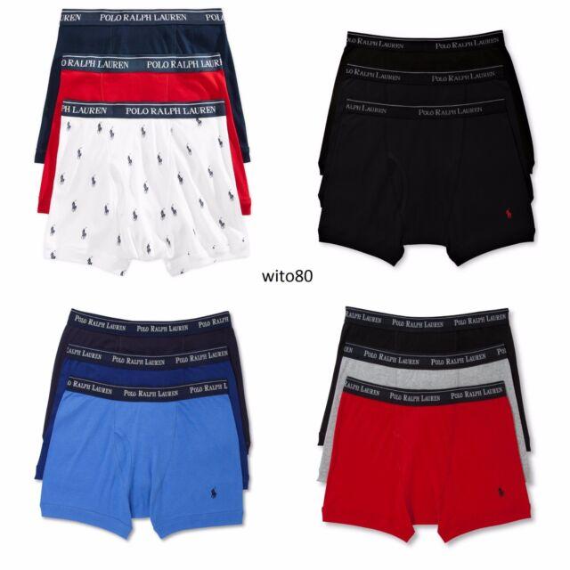 4abe7ab00bb Polo Ralph Lauren Boxer Briefs Mens Underwear 3 Pack Gray Black Navy S M L  XL