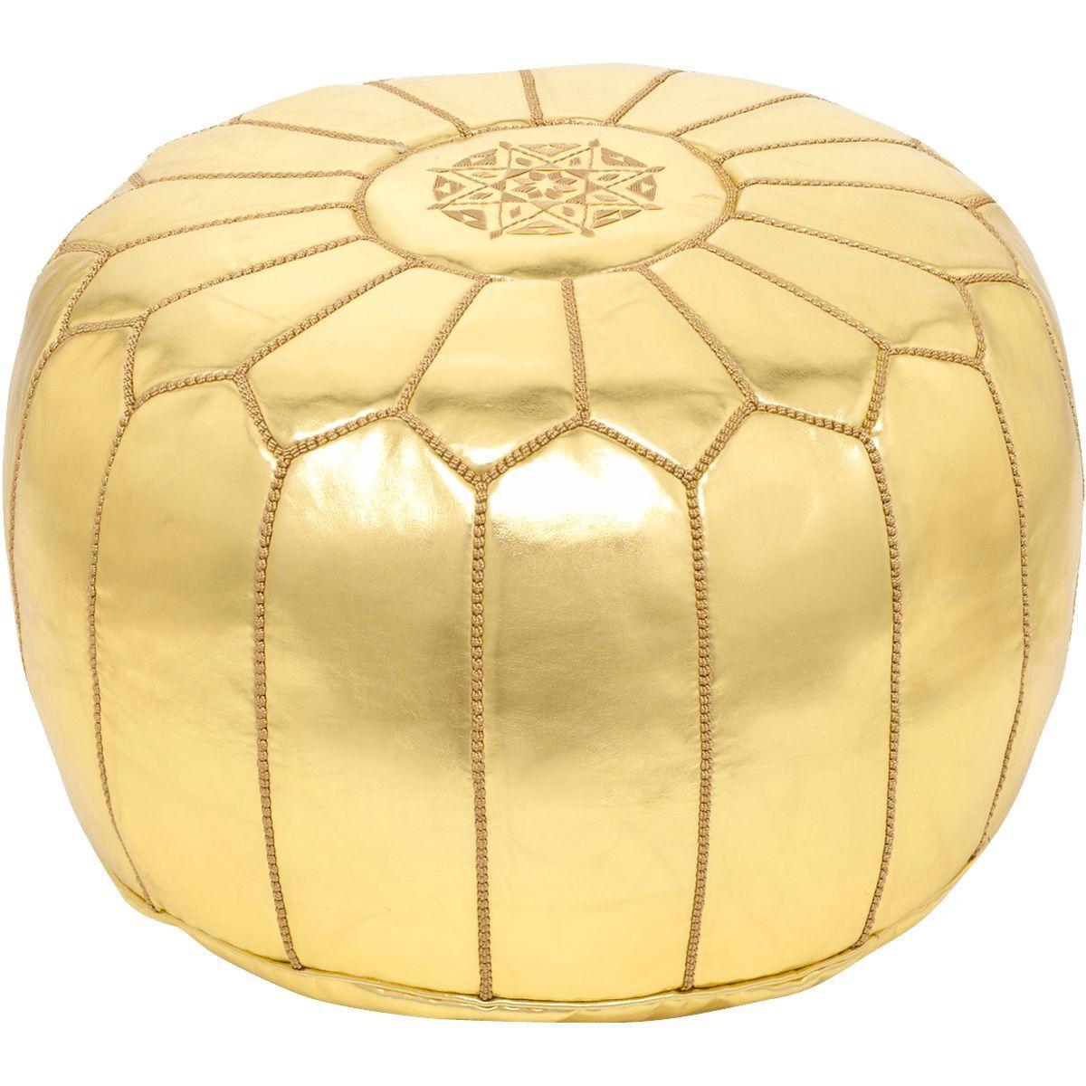 Marroquí Dorado mano imitación cuero mano Dorado cosida Puf 6bafca