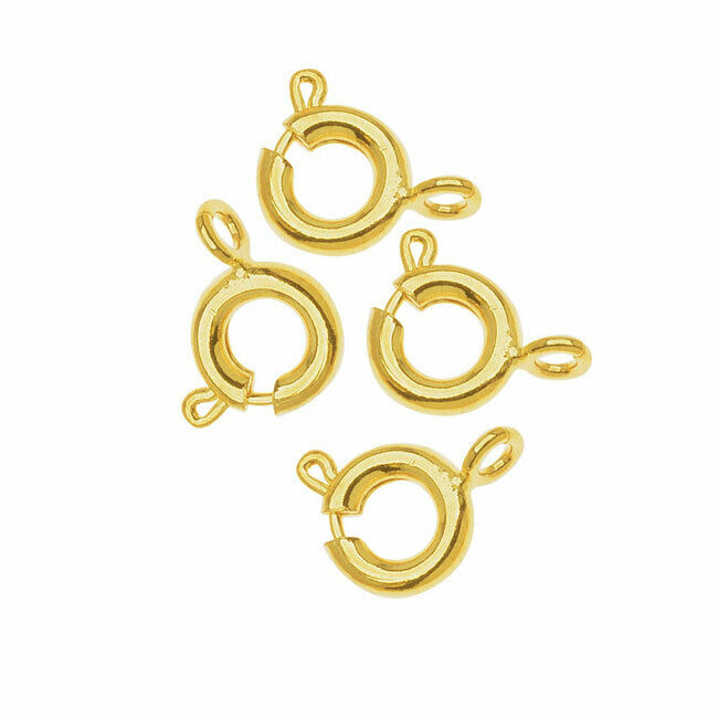 VTG 50 GOLD PLATED METAL SPRING RING CLOSURE NECKLACE CLASPS 10mm #010319n
