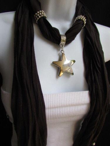 NEW WOMEN DARK BROWN FASHION SOFT SCARF NECKLACE BIG SILVER LARGE STAR PENDANT