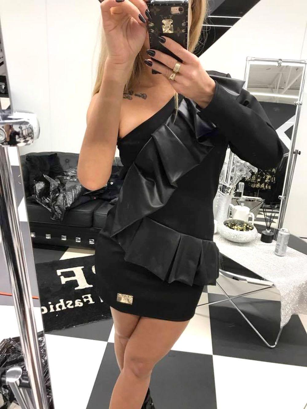 Paparazzi Damenkleid Partykleid Minikleid Longpulli Tunika Longshirt 36-38  P78