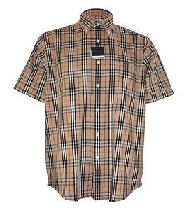 Burberry-London-camisa-manga-corta-de-lujo-nuevo-beige-en-S-M-L-XL