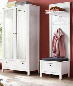 Flur Garderobe Set Garderoben Set Weiss 3 Teilig 160 Cm Mit Schrank