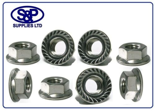 STAINLESS STEEL HEXAGON FLANGE NUT GR304 A2 SERRATED FLANGE NUT 10mm 10MM M10