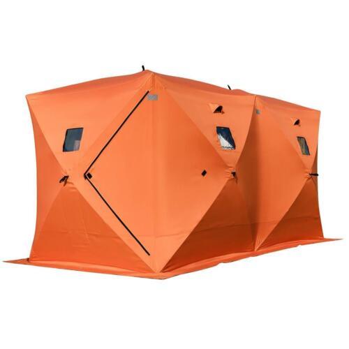NEW Orange Waterproof Weatherproof 8-Person Camping Fishing Ice Shelter Tent