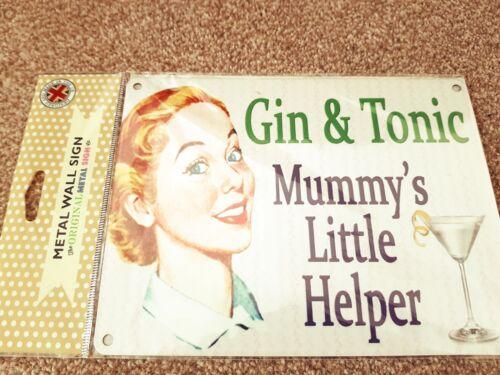 Gin /& Tonic Mummy/'s Little Helper Rétro Métal Suspendu Signe Mère Maman