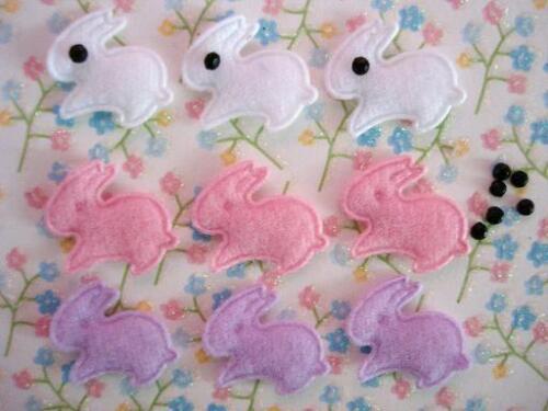 60 Little Felt Rabbit Easter Bunny Applique//trim//eye//pink//purple//white//baby L1