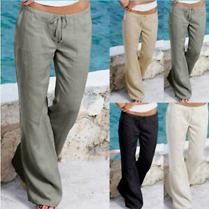 Womens-Summer-Long-Trousers-Wide-Leg-Yoga-Pants-Holiday-Casual-Chino-Loose-Cargo