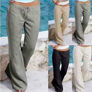 dcfad9a2fffb5 US Women Linen Casual Trousers Long Pants Holiday Beach Wide Leg ...