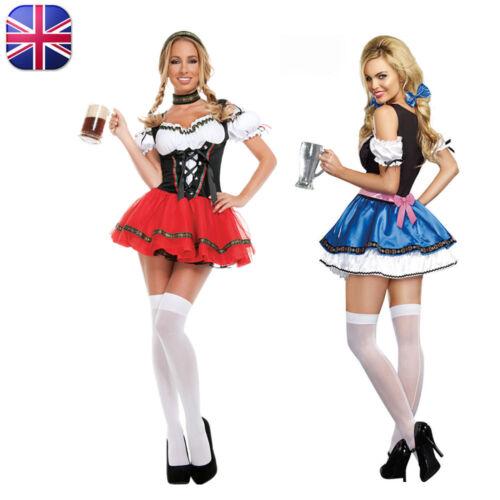 UK Women Oktoberfest Beer Girl Costume German Bavarian Wench Maid Fancy Dress