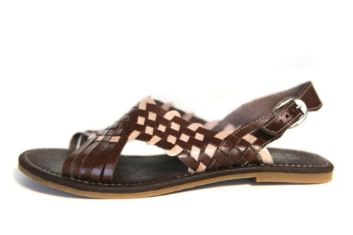 MEXICAN SANDALS Women/'s OPEN Toe BROWN//CREME with Buckle Flats Huarache Sandal