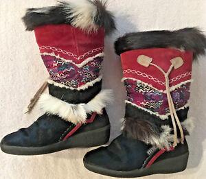 Tecnica Fur Damenschuhe Goat Fur Tecnica Apres Ski Stiefel schwarz Nordic Sz 6.5US 37EU ... 8441de