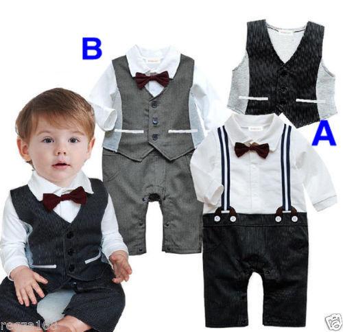 Baby Junge Fliege Weste body-outfit Taufe Hochzeit 6-2 Jahre