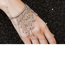 Silver Dazzling Tassel Bracelet/Bangle,Dainty zircon wedding Rare unusual bangle
