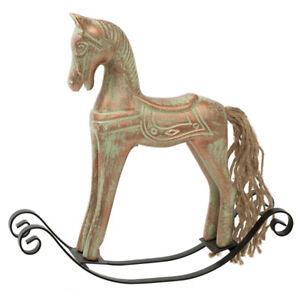 Schaukelpferd-Deko-Weihnachten-Pferd-kupfer-bronze-25-x-24-cm-Shabby-Style