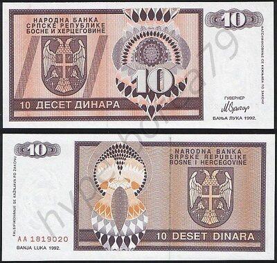 BOSNIA 10 DINARA 1992 P 10 UNC