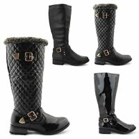 WOMENS LADIES WINTER RIDING QUILTED ZIP LOW HEEL SHOES KNEE HIGH BOOTS SIZE