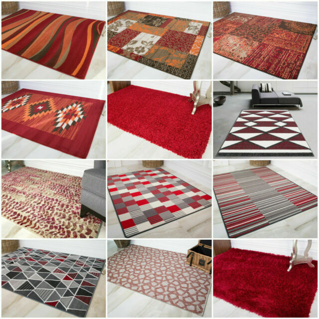 Red Rugs Soft Warm Non Shed Living Room