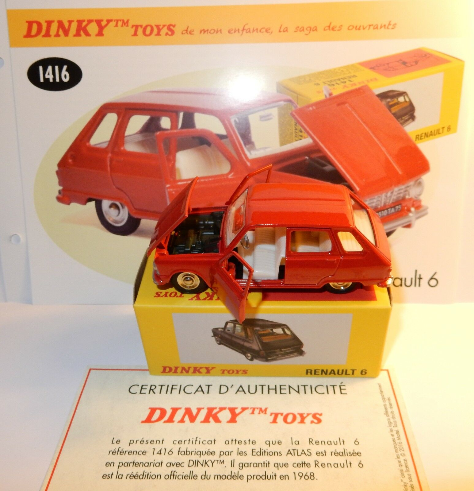 DINKY TOYS ATLAS RENAULT 6 R6 1968 RED 1 43 REF 1416 IN BOX