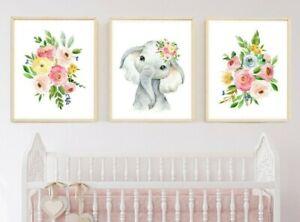 Boho Floral Verde Rosa Elefante Guardería De Impresión, Arte Floral Animal Set 3 629-A