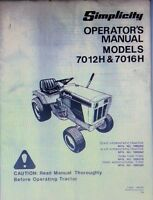 Simplicity 7012h 7016h Lawn Garden Riding Mower Tractor Operator's Manual 40pg