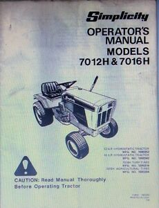 simplicity 7012h 7016h lawn garden riding mower tractor operator s rh ebay com Simplicity Sovereign 7016 Electric Lift Simplicity Sovereign Mowers