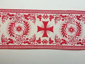 Orphrey-Vintage-Religioso-Cruz-Diseno-Luz-Rojo-On-Apagado-Blanco-Banda-11-4cm