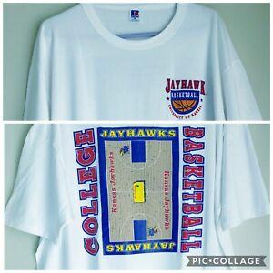Mens-XXL-Vintage-90s-University-of-Kansas-Jayhawks-College-basketball-t-shirt