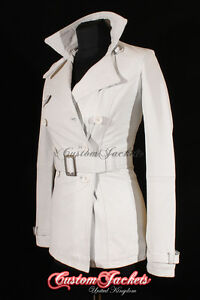 /'VENICE/' Ladies White Real Lambskin Leather TRENCH COAT Belted Stylish Jacket