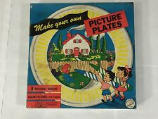 VINTAGE MAKE YOUR OWN PICTURE PLATES SET 8 REED PRODUCT CO ACTIVITY CHILDRENS
