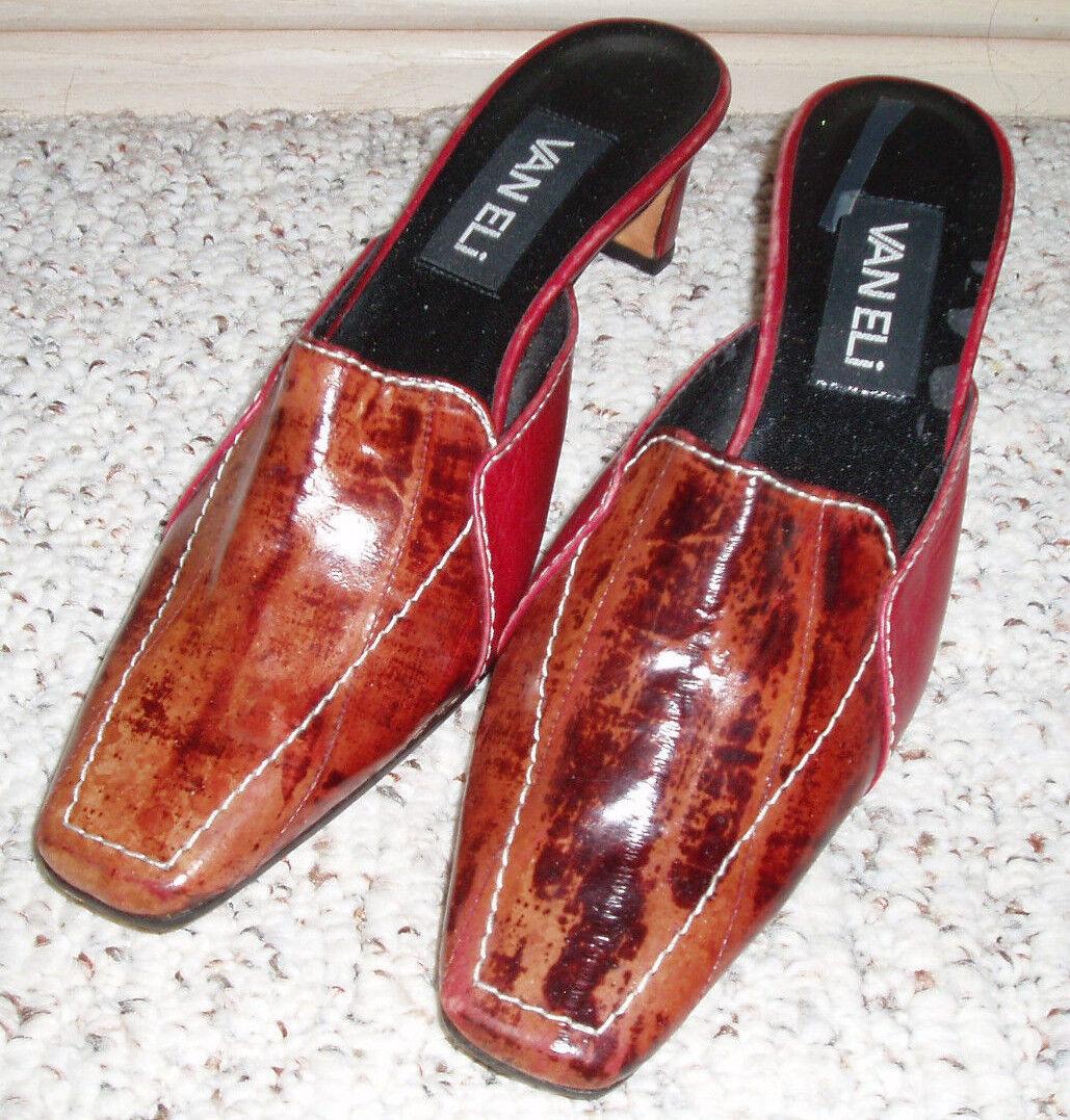 New~VAN On ELI Women's 'Vero Cuoio' Multi Color Stitched Slip On New~VAN Heels~Size 6 M 8de386