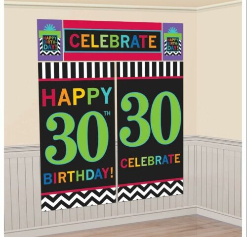 30th BIRTHDAY SCENE SETTER PARTY WALL DECORATION CHEVRON THIRTY 30 PHOTO POSTER