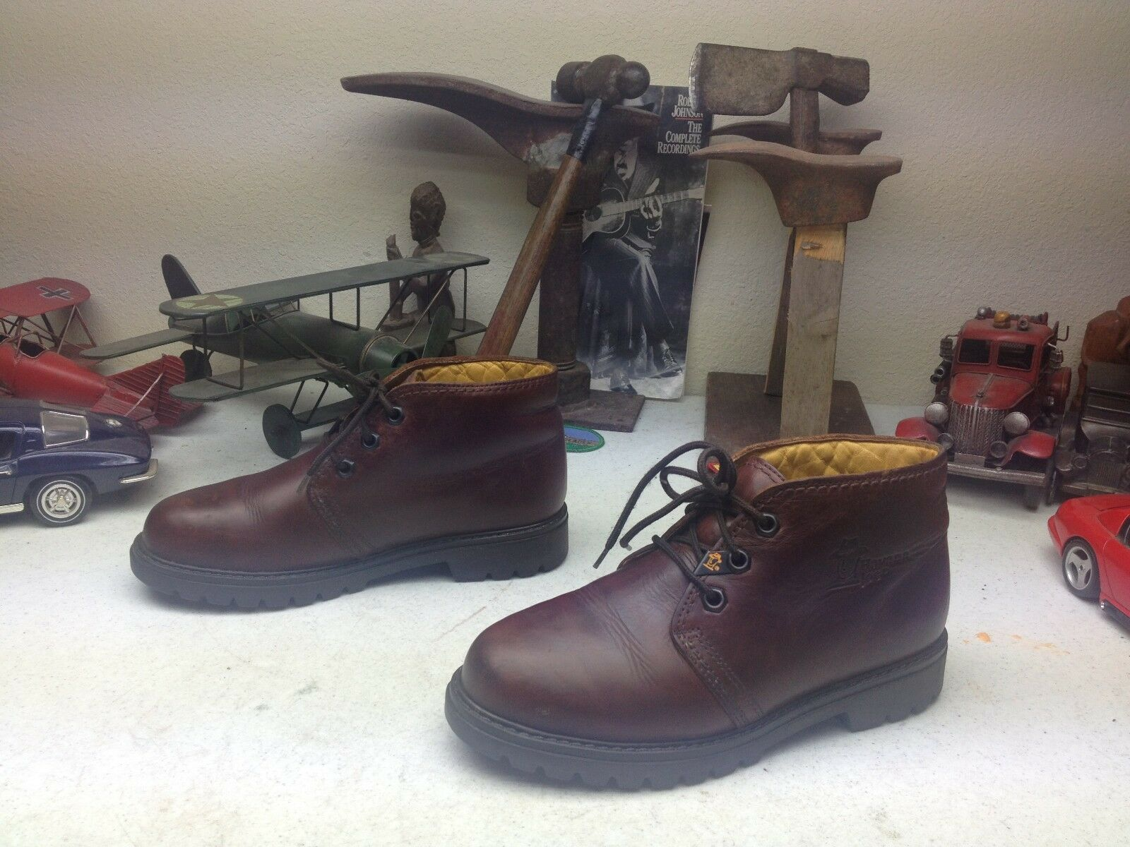 SPAIN HAVANA JOE BROWN LEATHER LACE UP DISTRESSED ANKLE BOOTS 38