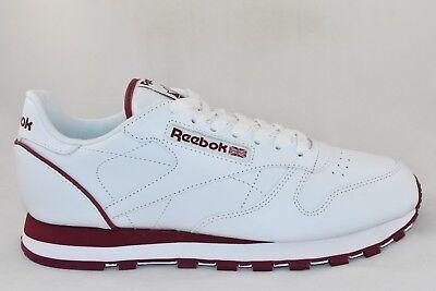 Da Uomo Reebok Classic Leather Scarpe da ginnastica WhtBrg RRP £ 69.99 Taglie 12 & sopra!!!   eBay