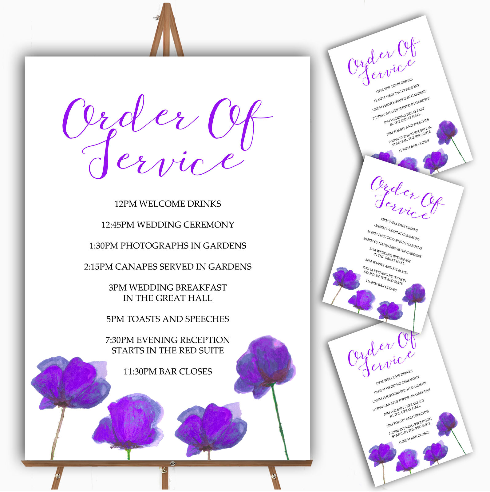 Stunning Watercolour Poppies lila Personalised Wedding Order Of The Day Cards