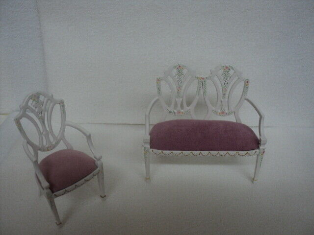 DOLLHOUSE SETTEE W  CHAIR- SET- Weiß- HANDPAINTED