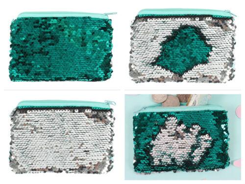 SIRENA Magic Verde Argento Oro Rosa con Lustrini reversibile Portamonete Wallet Zip